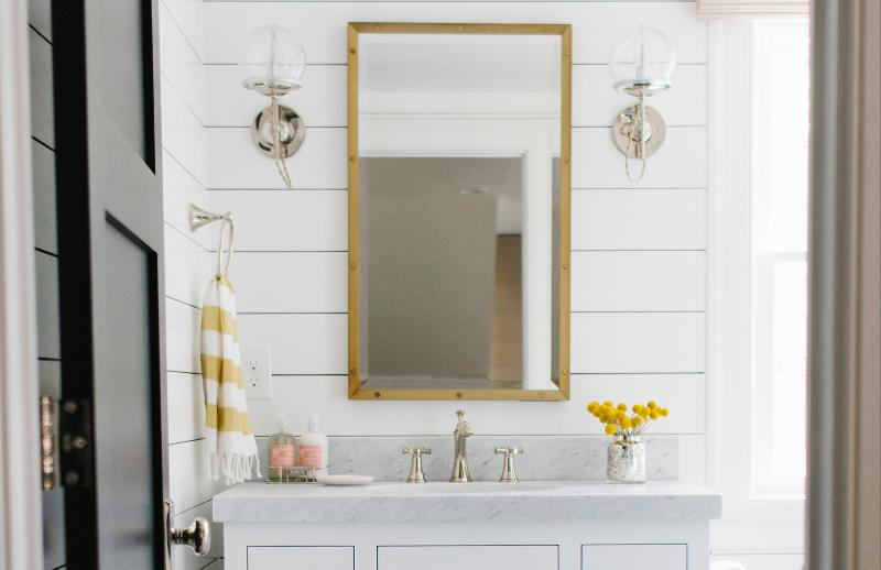 I love this guest bathroom renovation by Salt Lake City based Studio McGee   So fresh  So bright  Check out more of Shea McGee s work here. Shiplap and cement tile   desire to inspire   desiretoinspire net