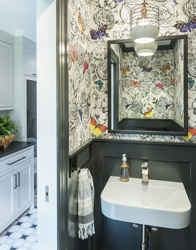 Small Bathroom Design With Crowded U0026 Bold Toned Wallpaper Black Framed  Mirror Freestanding Sink In White. Desire To Inspire