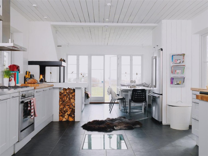 hus hem - Kitchen Fireplace