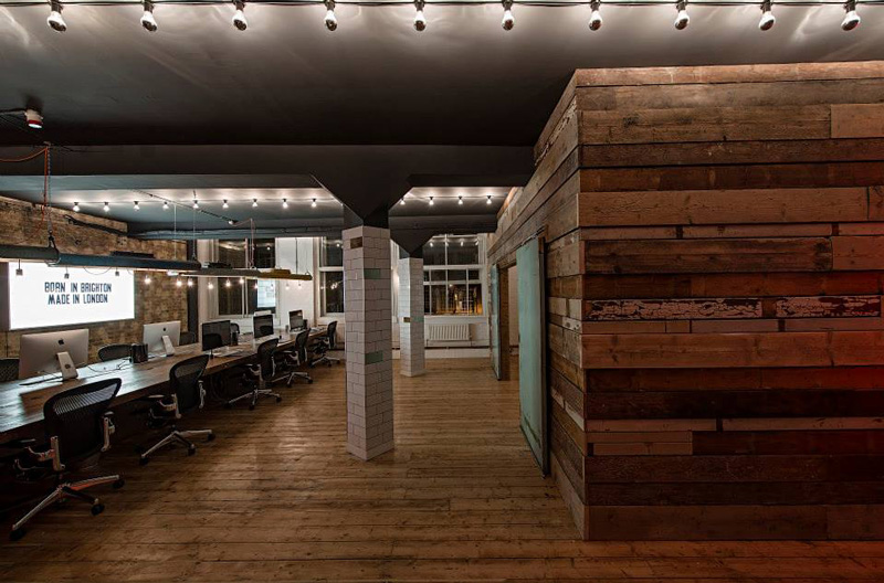 reclaimed wood office. This Has All Of My Favourite Elements In It \u2013 Funky Lighting, Reclaimed Wood, Fun Neon Signs, And A Wee Bit Religious Kitsch. Sweet Office For These Wood P