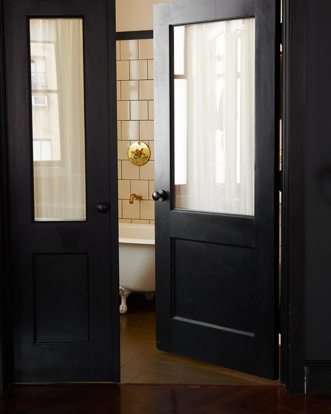 This Photo Is Perfection A Glimpse All You Need Bathroom With Flat Black Doors White Subway Tiles Dark Grout And Gold Hardware It